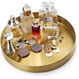 FREELOVE Gold Serving Tray, 8 in. Round Tray Stainless Steel Platter Bathroom Sink Vanity Trays Cosmetics Jewelry Organizer T