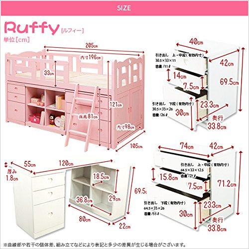 組み変え自由自在のシステムベッド【ルフィー-ruffy】システムベッド 学習机 ホワイトウォッシュ