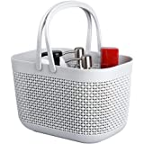 UUJOLY Plastic Organizer Storage Baskets with Handles, Bins Organizer for Bathroom and Kitchen(Grey)