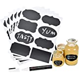 MFLABEL 48pcs Reusable Chalkboard Labels with Erasable White Smooth Liquid Chalk Marker - Chalkboard Labels for Kitchen, Labe