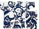 【福だるまと松 白青】 義若オリジナル子供鯉口シャツ上下セット(4号(120サイズ))