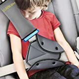 Seat Belt Adjuster and Pillow with Clip for Kids Travel,Soft Neck Support Headrest Seatbelt Pillow Cover & Seatbelt Adjuster