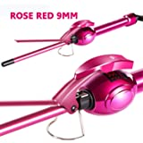 Ausale 9mm Mini Hair Curler Curling Tong Tourmaline Ceramic Barrel Curling Iron for Men Women (Rose Red) Mother's/Christmas/V