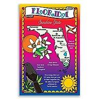 フロリダ州状態マップポストカードのセット20identicalはがき。Post Cards with FLマップと状態シンボル。Made In USA。