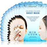 Ebanel Korean Collagen Facial Face Mask Sheet, 15 Pack, Instant Brightening and Hydrating, Deep Moisturizing with Hyaluronic