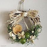 * 花七曜 * 青リンゴのミニリース / リース ドライフラワー ホワイト グリーン / 玄関 ナチュラル シンプル プレゼント 引越祝い 出産祝い 母の日 フラワーアレンジ