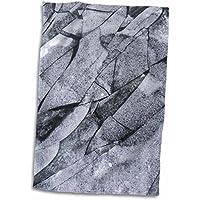 3drose Alexis写真–テクスチャIce–ホワイトPieces of Ice、ダークグレーの水A Frozen River In冬–タオル 15x22 Hand Towel twl_280958_1