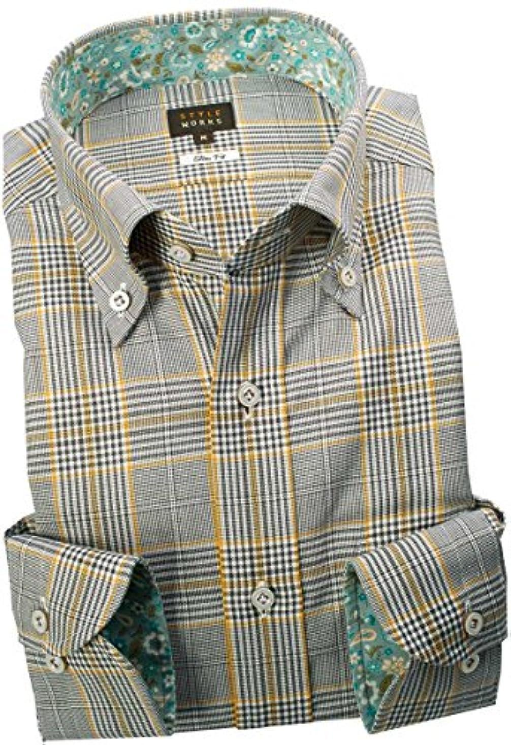 ゴミ切り離すどう?RSD146-005-0103-S (スタイルワークス) メンズ長袖ワイシャツ 茶色 チェック | 茶/S