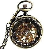 スチームパンク Steampunk Gilt Bronze Frame Stainless Steel Hand Winding Mechanical Pocket Watch Open Face F
