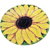 """Latch Hook Kits, Latch Hook Rug Kits with Printed Canvas for Kids Adults Beginners, 19"""" x 19"""" Sunflower"""