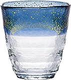 焼酎グラス 和がらす温 お湯わり焼酎ぐらす お湯割り 金箔 藍 300ml 42130TS-G-WSHB