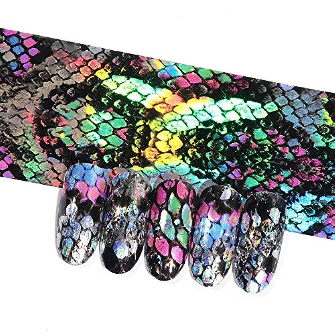 16ピースホログラフィック蛇行ネイル転写箔ステッカーヘビレーザーミックス色粘着ネイルアートフルラップ装飾