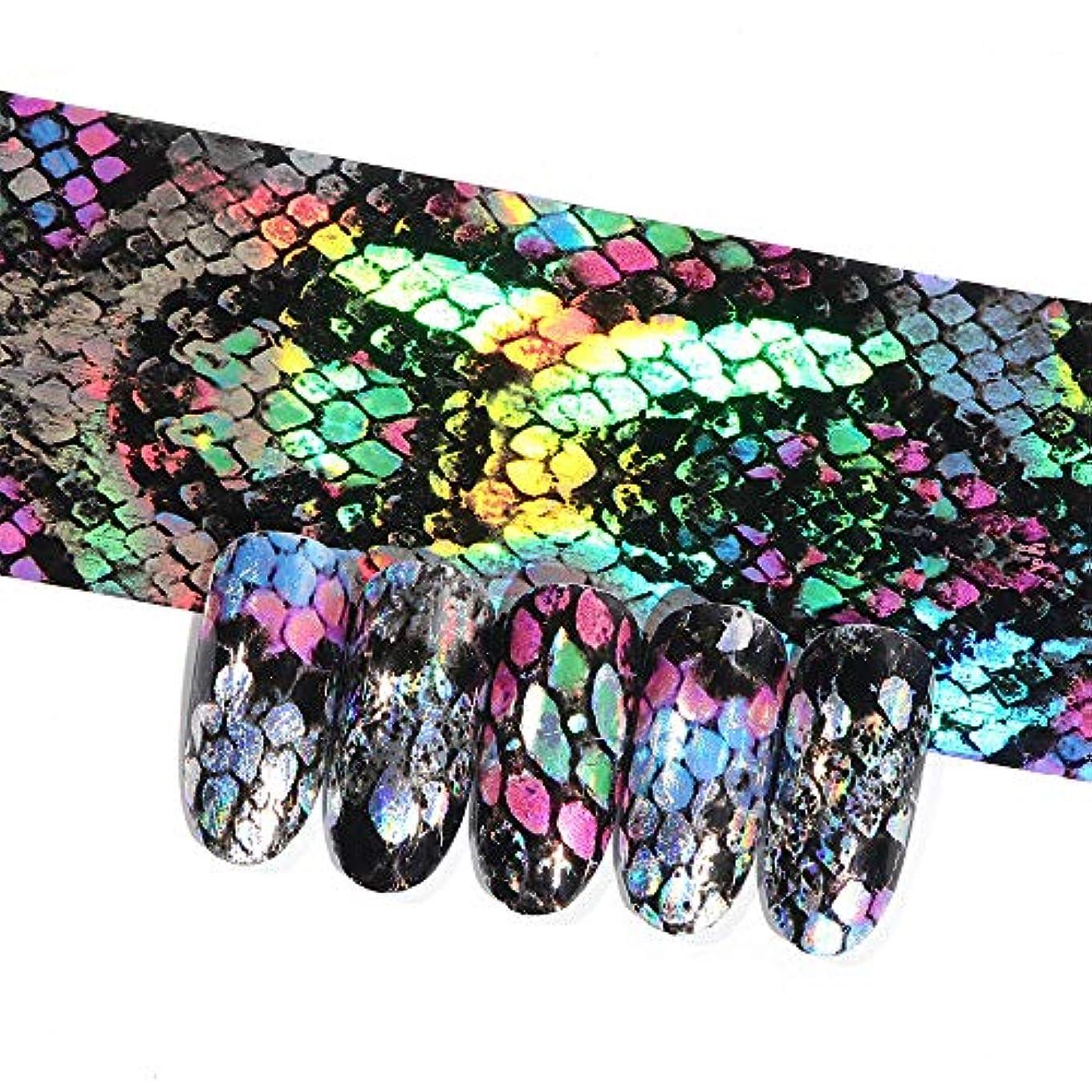 人道的湿度概要16ピースホログラフィック蛇行ネイル転写箔ステッカーヘビレーザーミックス色粘着ネイルアートフルラップ装飾