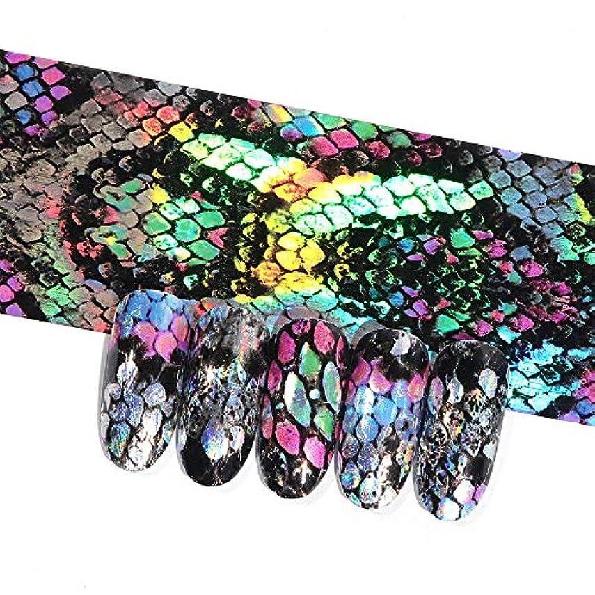 あごひげ悪化する地殻16ピースホログラフィック蛇行ネイル転写箔ステッカーヘビレーザーミックス色粘着ネイルアートフルラップ装飾