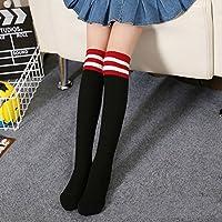 Bullidea Kids Girls Striped Cotton Socks Cute Knee-High Socks Warmer Durable Black- One Size 1 Pair