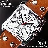 [ソリッド]solid メンズ 腕時計 かっこいい デザイン ウォッチ スクエアフェイス 合皮 合革 ベルト ブラウン 茶色 プ