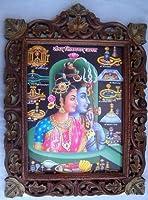 Hindu Lord Shiva Parvati & Shivlingのポスターでのペイントの木製工芸品フレーム、Handicraftsアート