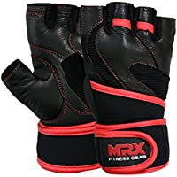 MRX Leather Weight Lifting Gloves Gym Cross Training Power Lifting Fitness Exercise Bodybuilding Workout Glove with Long Wrist Strap (Large)