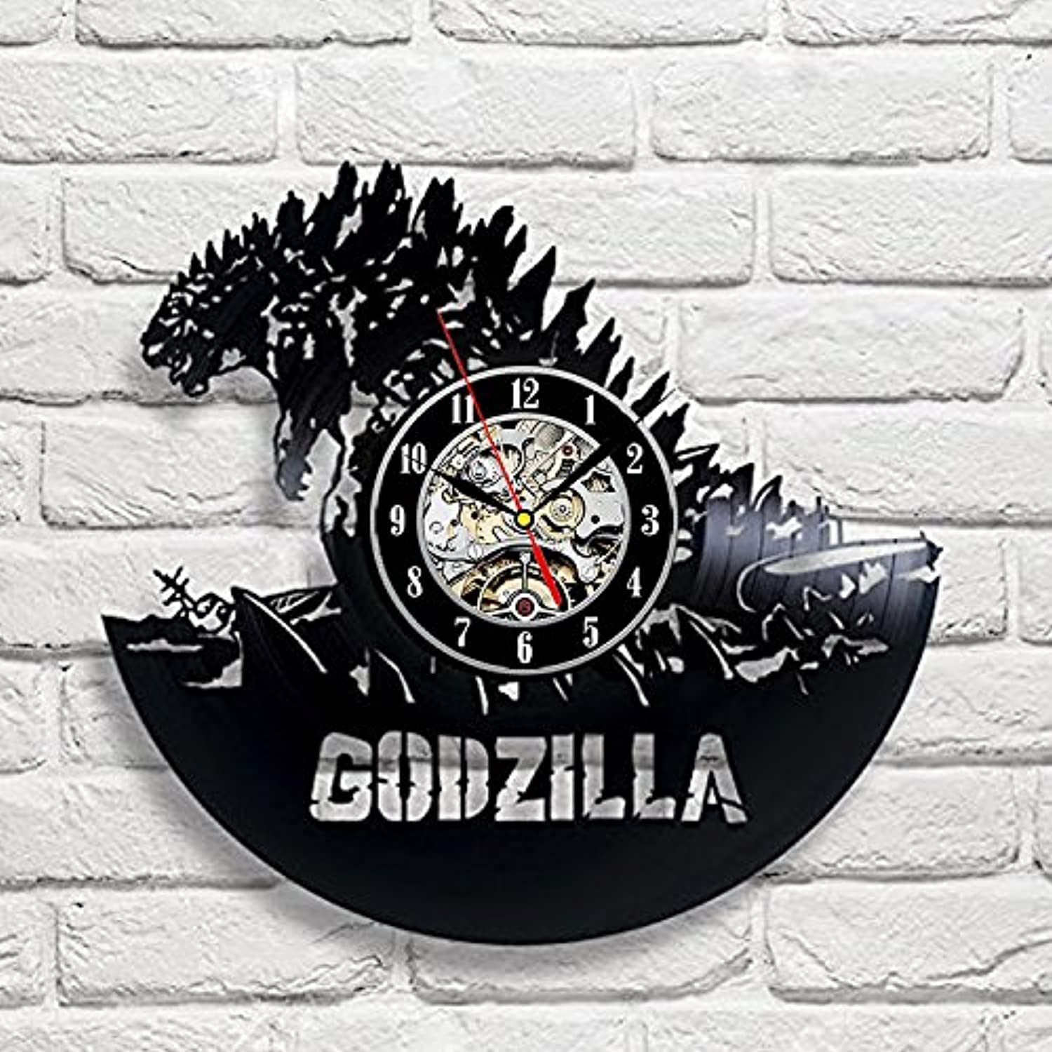 Godzilla Art Vinyl Wall Clock Gift Room Modern Home Record Vintage Decoration - Win a prize for feedback