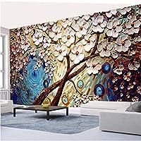 Wuyyii カスタム壁紙リビングルームの寝室白巨大な金のなる木油絵壁画テレビ壁の背景家の装飾 - 350×250センチ