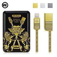 WK金锐亜鉛合金の春金属 Lightning USB充電器ケーブル、1M亜鉛合金超耐久性のある金属ばねケーブル、Lightning USB高速充電と安全な高速転送ファイル、に適用する Apple iPhone X / 8/8 Plus/ 7/7 Plus/ 6s/6s Plus/ 6/6 Plus / 5s / 5e / 5c / 5、iPad Air / Mini / Pro ... (金色)