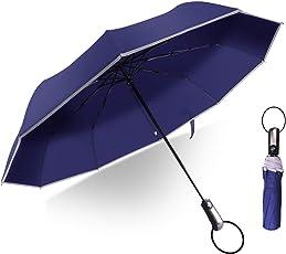 折りたたみ傘 自動開閉 耐風撥水 Teflon加工 反射テープ付き グラスファイバー 10本骨 丈夫 コンパクト