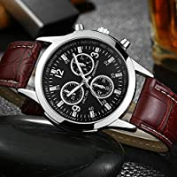 Fashion Men's Luxury Leather Blue Ray Glass Wristwatch Quartz Business Watch