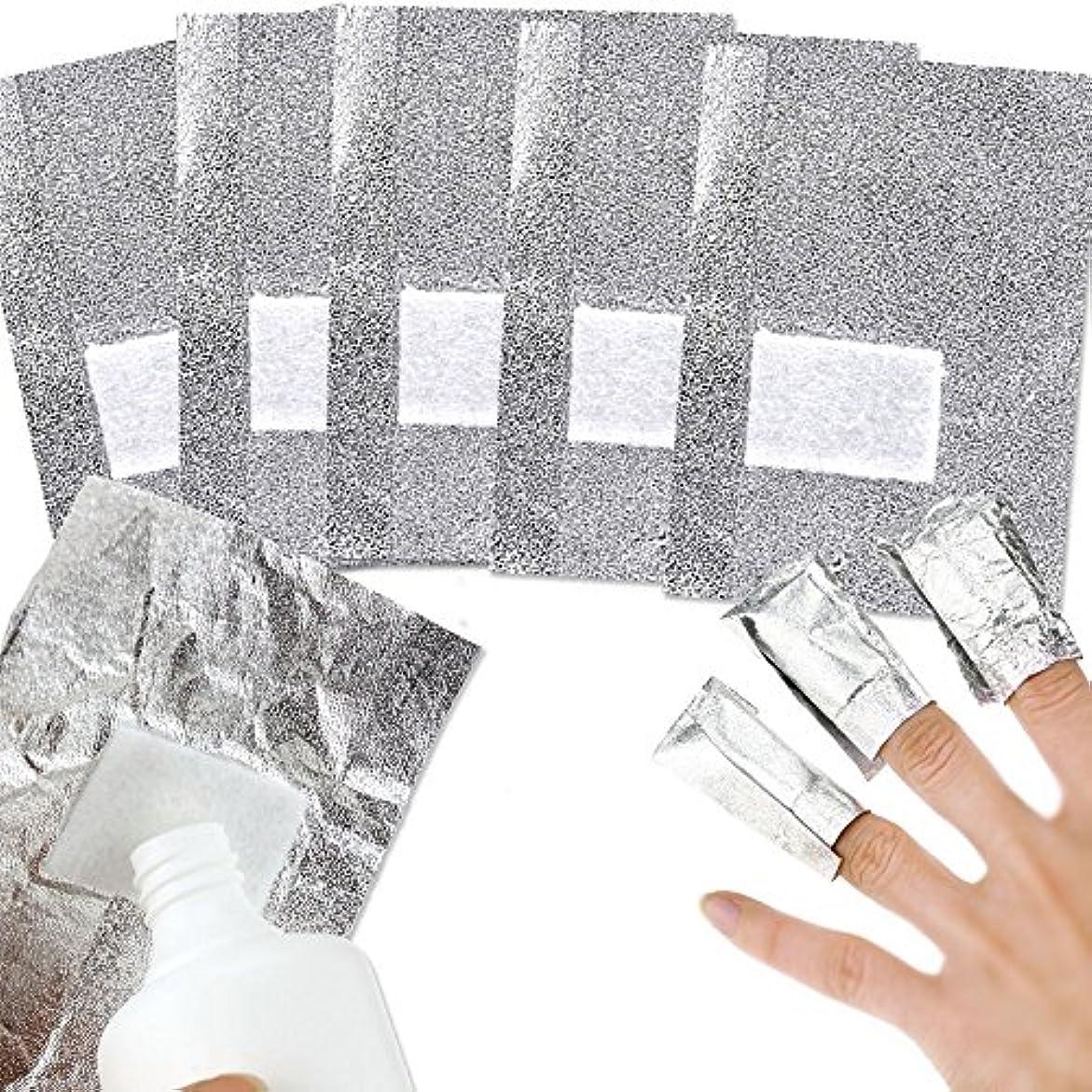 あそこ性別天井UVジェル リムーバーパッド 100枚入り ネイルポリッシュをきれいにオフする コットン付きアルミホイル ジェル除却 使い捨て 爪マニキュア用品 Pichidr