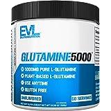 Evlution Nutrition L-Glutamine 5000, 5g Pure L Glutamine in Each Serving, Plant Based, Vegan, Gluten-Free, Unflavored Powder
