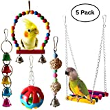 MQFORU 5pcs Bird Parrot Swing Toys with Hanging Bell Pet Bird Cage Hammock Swing Toy for Parakeets Cockatiels, Conures, Macaw
