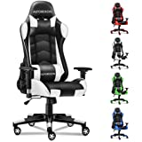 ALFORDSON Gaming Chair Racing Chair Executive Sport Regan Office Chair with PU Leather Armrest Headrest Home Chair in White C