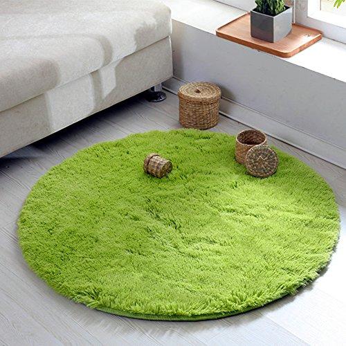 円形 ラグマット 洗える マイクロファイバー シャギー 床暖房対応 ラグ 防ダニ 丸型 ラグ 滑り止め付き 折り畳み可能 カーペット じゅうたん (直径約120cm グリーン)