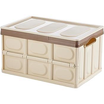 AYADA収納ボックス・ケース 衣類収納ケース おもちゃ 収納 衣装ケース プラスチック 車用収納ボックス 折りたたみ ふた付き 50L 53×36×29cm カーキ