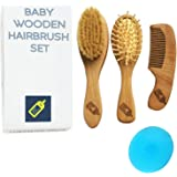 DIRECT FROM FACTORY Baby Hair Brush & Comb Set (4 PCS) - Cradle Crap Goat Hair Bristle Brush, Wooden Bristle Brush, Wood Comb