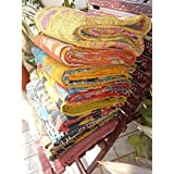 Indian Kantha Quilt Patch Work Cotton Vintage Twin Bedspreads Throw Blanket Made Rally Reversible Bedspread Throw Old Sari Ma