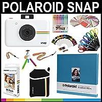 Polaroid Snap Instant Print Camera Gift Bundle + ZINK Paper (30 Sheets) + 8x8 Cloth Scrapbook + Pouch + 6 Edged Scissors + 100 Sticker Border Frames + Color Gel Pens + Frames + Accessories [並行輸入品]