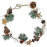 BANBERRY DESIGNS Rustic Farmhouse Festive Pinecone Garland - Pine Cones, Cotton, Pine, Stars- Christmas Home Décor for Mantel
