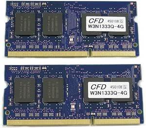 CFD販売 Elixir ノートPC用 DDR3 メモリー 8GB (4GB 2枚)DDR3-1333 (PC3-10600) CL9 W3N1333Q-4G