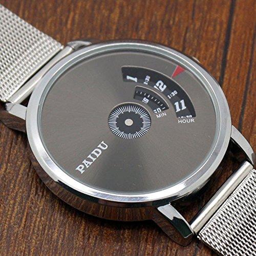 ZooooM ユニーク おもしろ 針 デザイン ウォッチ 腕 時計 クォーツ フェイク レザー バンド ファッション カジュアル 女性 男性 レディース メンズ 男 女 兼 用 ( ホワイト ) ZM-WATCH1632-WH