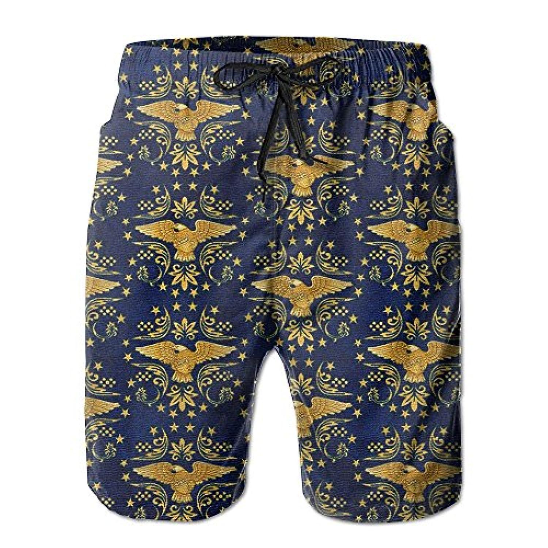 金色の鷹 メンズ サーフパンツ 水陸両用 水着 海パン ビーチパンツ 短パン ショーツ ショートパンツ 大きいサイズ ハワイ風 アロハ 大人気 おしゃれ 通気 速乾