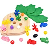 STOBOK Montessori Toys for Toddler Carrot Harvest Wooden Matching Puzzle Sorting Games for Developing Fine Motor Skill Educat