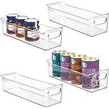 mDesign Slim Plastic Kitchen Pantry Cabinet, Refrigerator or Freezer Food Storage Bin with Handles - Organizer for Fruit, Yog