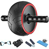Ab Roller for Abs Workout - 5-in-1 AB Wheel Roller Kit AB Roller Pro with Knee Pad, Jump Rope, Hand Grip and Resistance Band