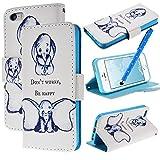 WeLovecase iphone5 iphone5s ケース 手帳型 カバー スタンド機能付き カードホルダー付き タッチペン イヤフォンジャンク アイフォン5 5s 手帳型 ケース おしゃれ キャラクター 可愛い 象ちゃん