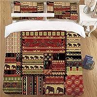 布団カバー シングル 3点セット 寝具カバーセット マイクロファイバー 防ダニ ベッド用 洗える ビロケース クイーン 228cmx228cm 象と文化的な古代のモチーフが施されたパッチワークスタイルのアジアンパターンが装飾的