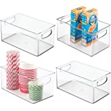 mDesign Plastic Kitchen Pantry Cabinet, Refrigerator or Freezer Food Storage Bins with Handles - Organizer for Fruit, Yogurt,