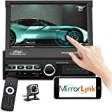 """Podofo Single Din Car Stereo Indash 7"""" Motorized & Retractable HD Touch Screen Bluetooth Car Radio MP5 Player Support FM/AUX-"""