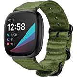Haotop Nylon Replacement Strap Bands Compatible for Fitbit Versa 3/Fitbit Sense (Army Green)