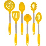 Yellow Kitchen Utensil Set - Stainless Steel & Silicone Heat Resistant Professional Cooking Tools - Spatula, Mixing & Slotted