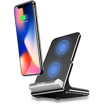 Qi 急速 ワイヤレス充電器 Hizek Quick Charge ワイヤレスチャージャ 置くだけ充電 iPhone X / iPhone 8 /iPhone 8 Plus / Galaxy Note 8 /S8/S8 Plus/S7/S7 Edge/ Note 5/S6 Edge Plus などのQi対応機種 USBケーブル付属